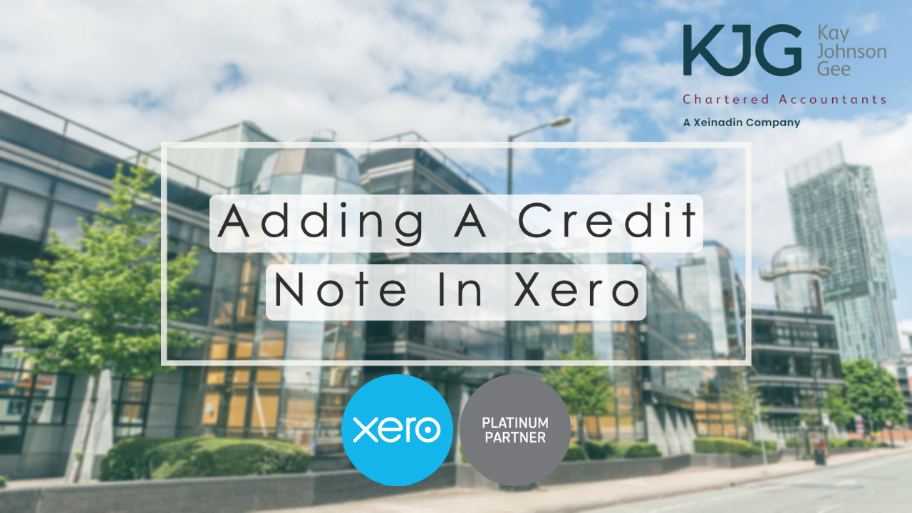 Adding a Credit Note in Xero